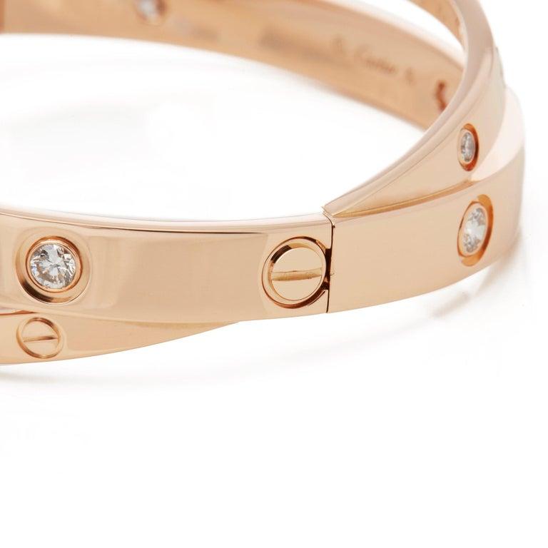 Contemporary Cartier 18 Karat Rose Gold Diamond Set Love Bangle For Sale