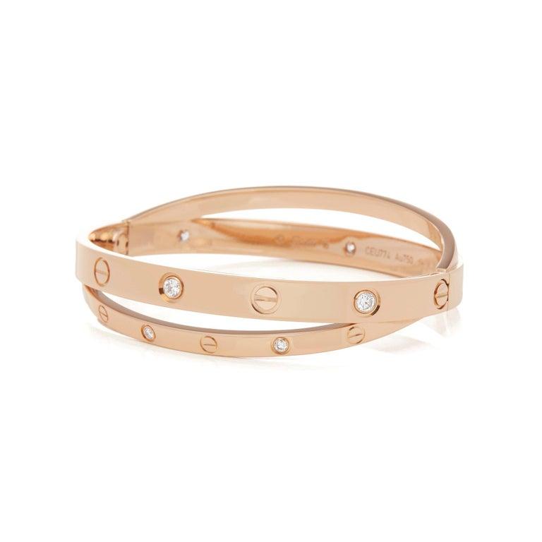 Women's Cartier 18 Karat Rose Gold Diamond Set Love Bangle For Sale