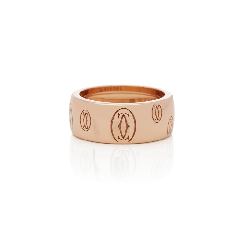 Contemporary Cartier 18 Karat Rose Gold Happy Birthday Ring For Sale