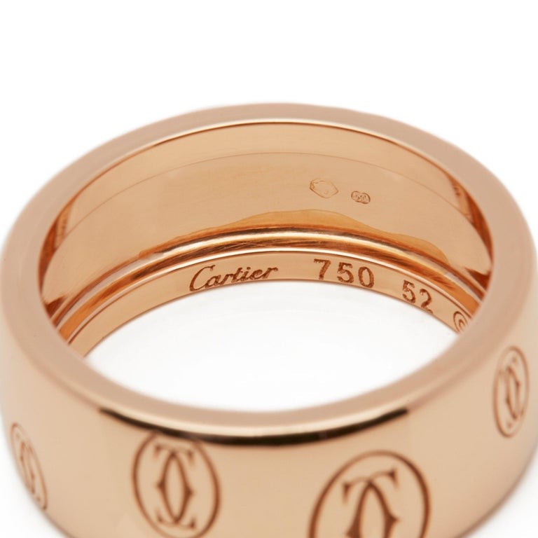 Cartier 18 Karat Rose Gold Happy Birthday Ring For Sale 1