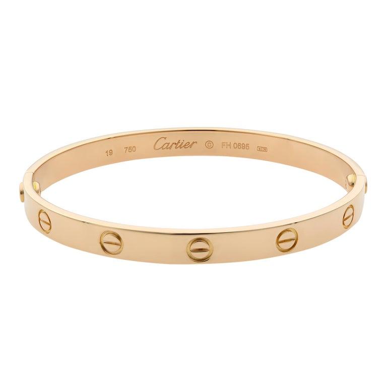 Modern Cartier 18 Karat Rose Gold Love Bracelet Old Style For Sale