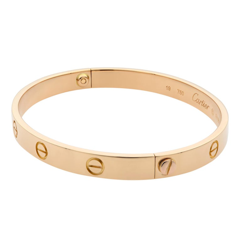 Cartier 18 Karat Rose Gold Love Bracelet Old Style In Excellent Condition For Sale In New York, NY