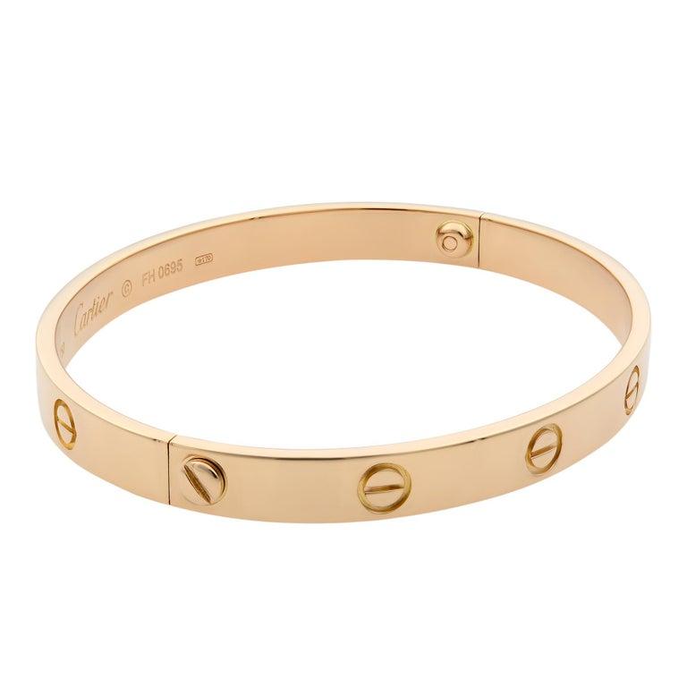 Women's or Men's Cartier 18 Karat Rose Gold Love Bracelet Old Style For Sale