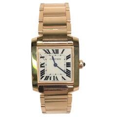 Cartier 18k Rose Gold Tank Francaise Watch