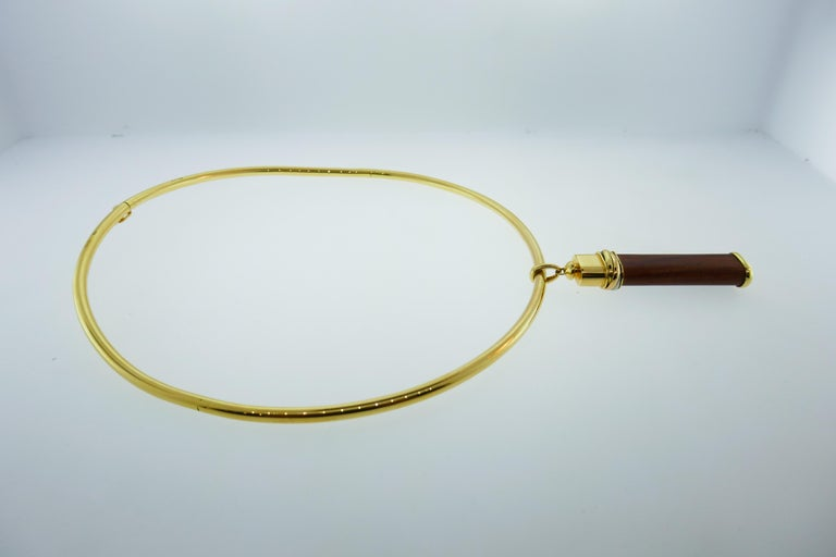Women's or Men's Cartier 18k Tri Color Gold and Touchwood Pendant on Cartier 18k Choker Necklace For Sale