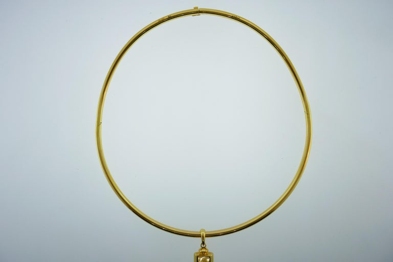 Cartier 18k Tri Color Gold and Touchwood Pendant on Cartier 18k Choker Necklace For Sale 1