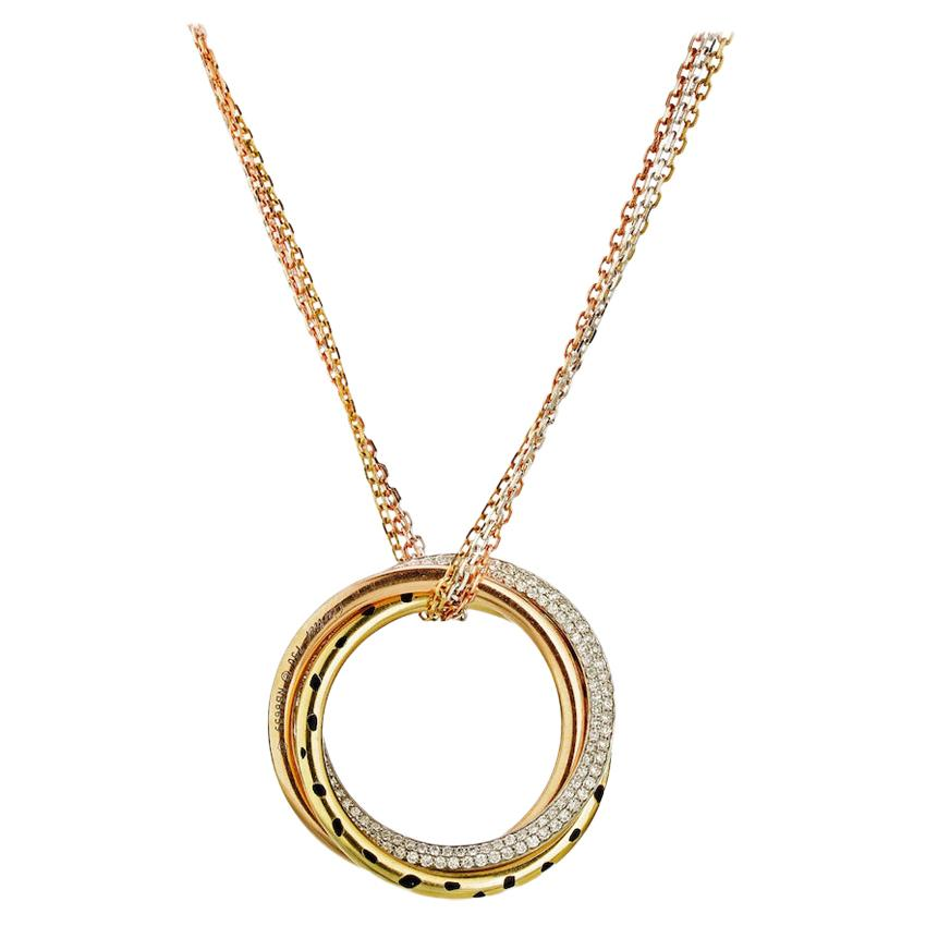 Cartier 18K Tri Color Gold Trinity Diamond Panthere Pendant Necklace 0.88cttw