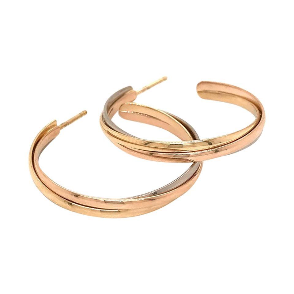 Cartier 18k Tri Color Gold Trinity Hoop Earrings