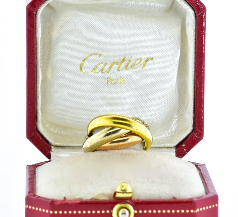 Contemporary Cartier 18 Karat Tri-Color Trinity Band Ring For Sale