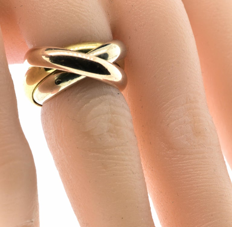 Cartier 18 Karat Tri-Color Trinity Band Ring In Excellent Condition In Aspen, CO