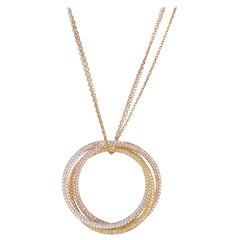 Cartier 18 Karat Tri Gold Trinity All Diamond Pendant Necklace on a Triple Chain