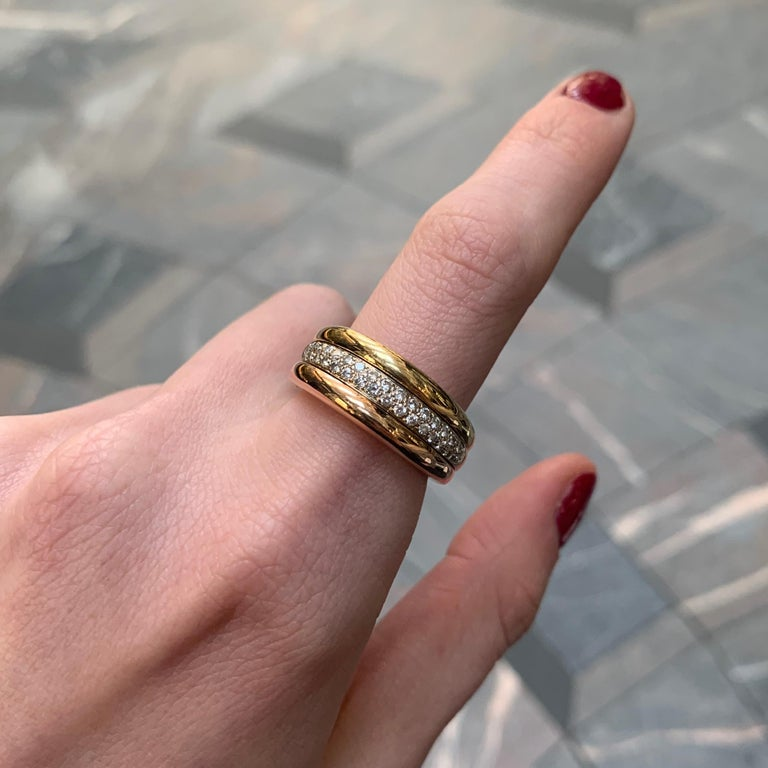 Cartier 18k Tricolor Gold and Diamond Ring circa 1990, Size 54 In Good Condition For Sale In London, GB