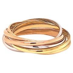 Cartier 18 Karat Trinity Three-Tone 7 Band Ring