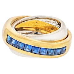 Cartier 18K Two Tone Sapphire Double Band Ring