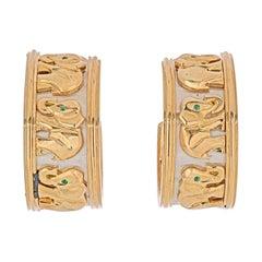 Cartier 18k Two Tone Walking Elephant Earrings