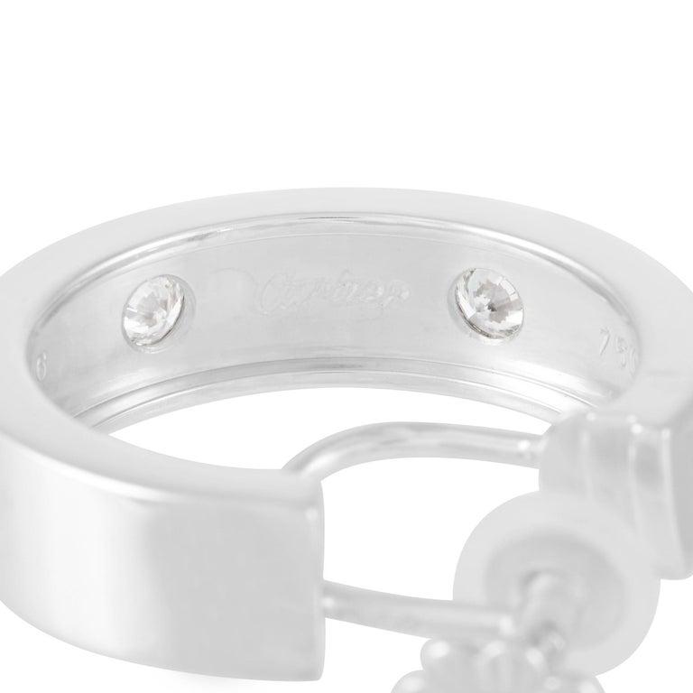 Round Cut Cartier 18 Karat White Gold 0.42 Carat Diamond Love Hoop Earrings For Sale