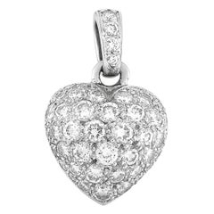 Cartier 18 Karat White Gold 1.30 Carat Full Diamond Pave Heart Pendant