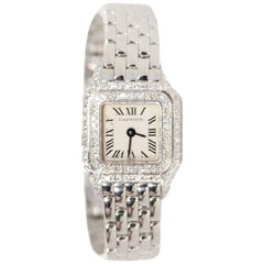 Cartier 18K White Gold 17mm Mini Panthere Watch with Diamonds
