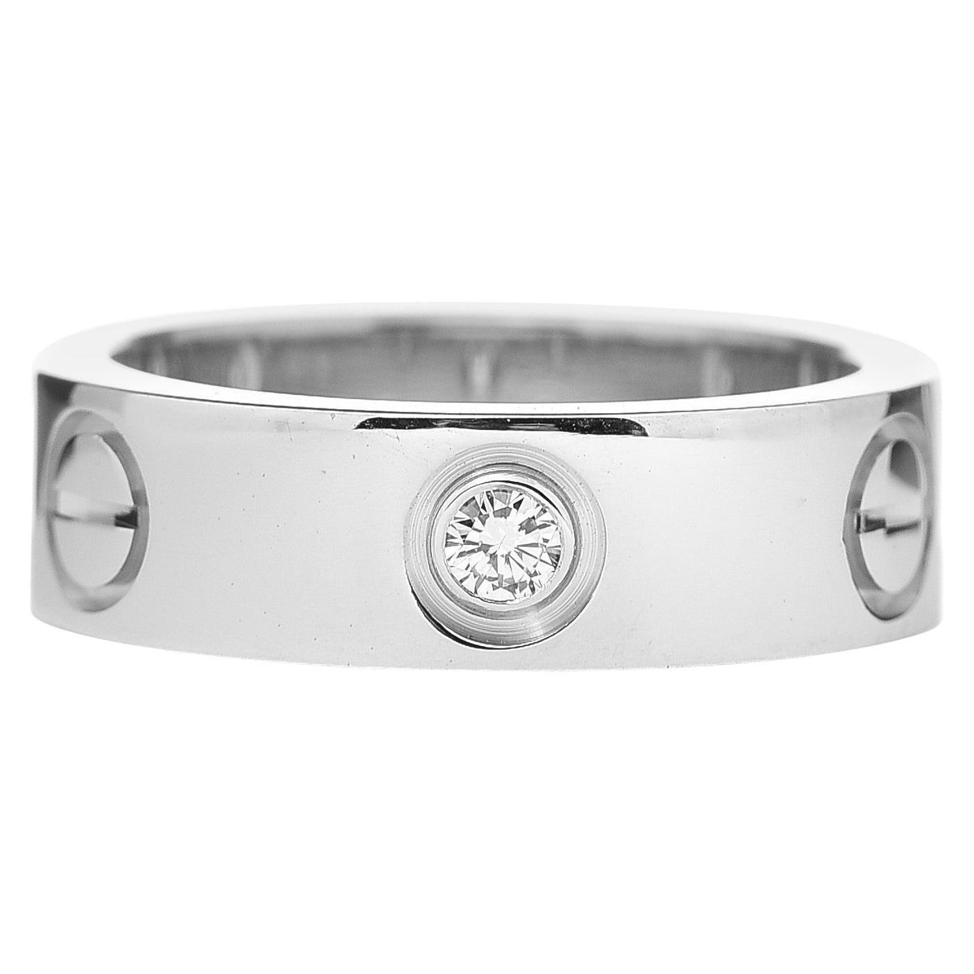 Cartier 18K White Gold 3 Diamonds Love Ring US 5.5
