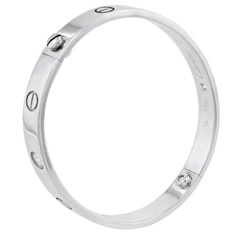 Women's or Men's Cartier 18 Karat White Gold 4 Diamond Love Bangle Bracelet with Screwdriver For Sale