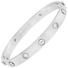 Cartier 18 Karat White Gold 4 Diamond Love Bangle Bracelet with Screwdriver