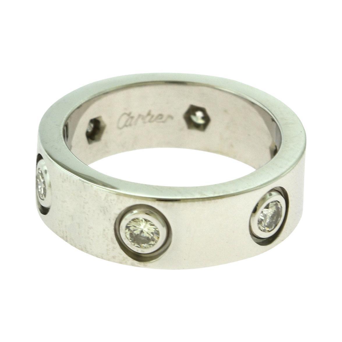 Cartier 18 Karat White Gold 6 Diamonds Love Ring