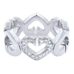 Cartier 18 Karat White Gold C Heart Diamond 0.10 Carat Ring