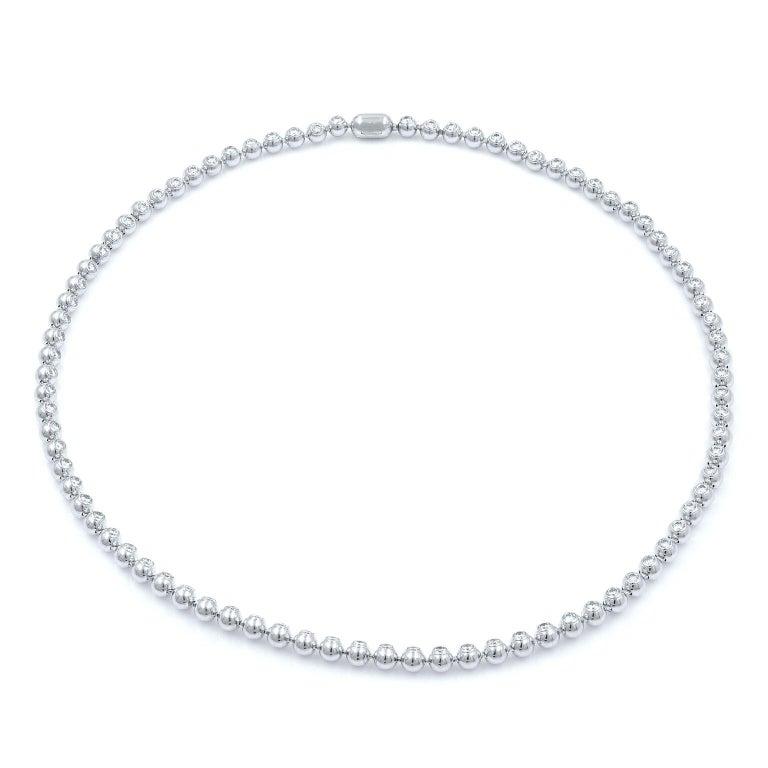 Cartier 18K White Gold Diamond Bead Bezels Tennis Style Ladies Necklace  4 26 Ct