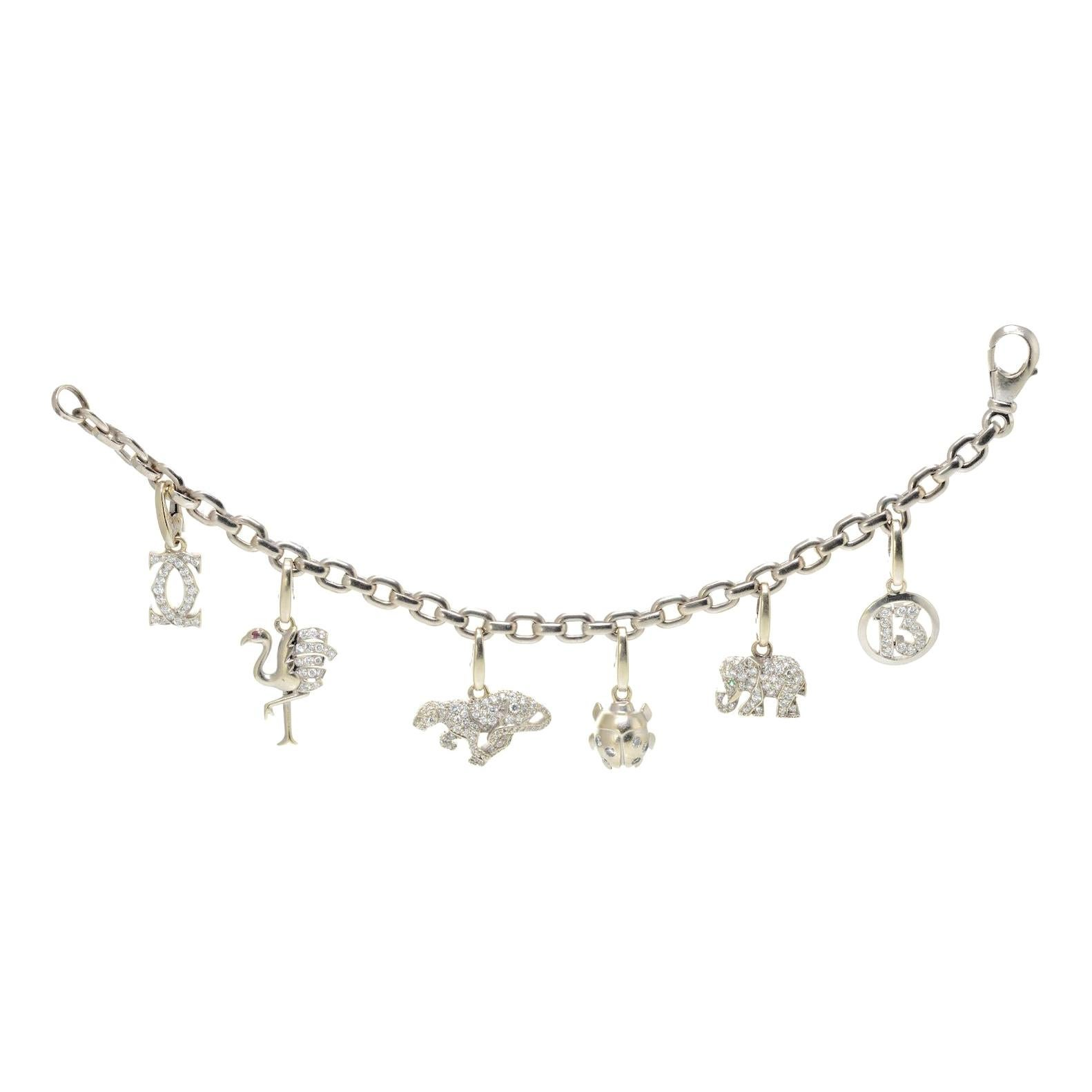 Cartier 18k White Gold Diamond Charm Bracelet