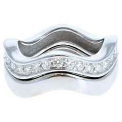 Cartier 18k White Gold & Diamond Neptune Band Set of Two Stacking Rings