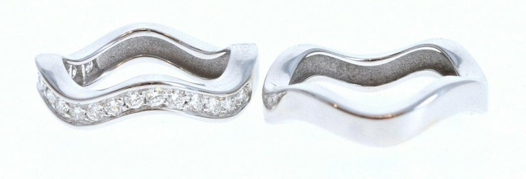 Round Cut Cartier 18k White Gold & Diamond Neptune Band Set of Two Stacking Rings For Sale