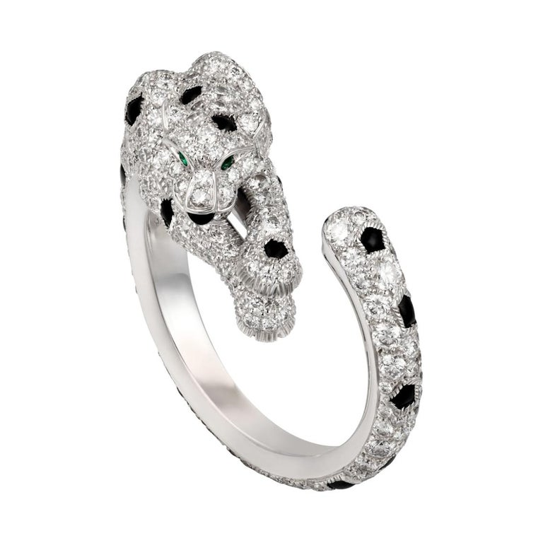 Cartier 18k White Gold Diamond Panthere De Cartier Ring For Sale