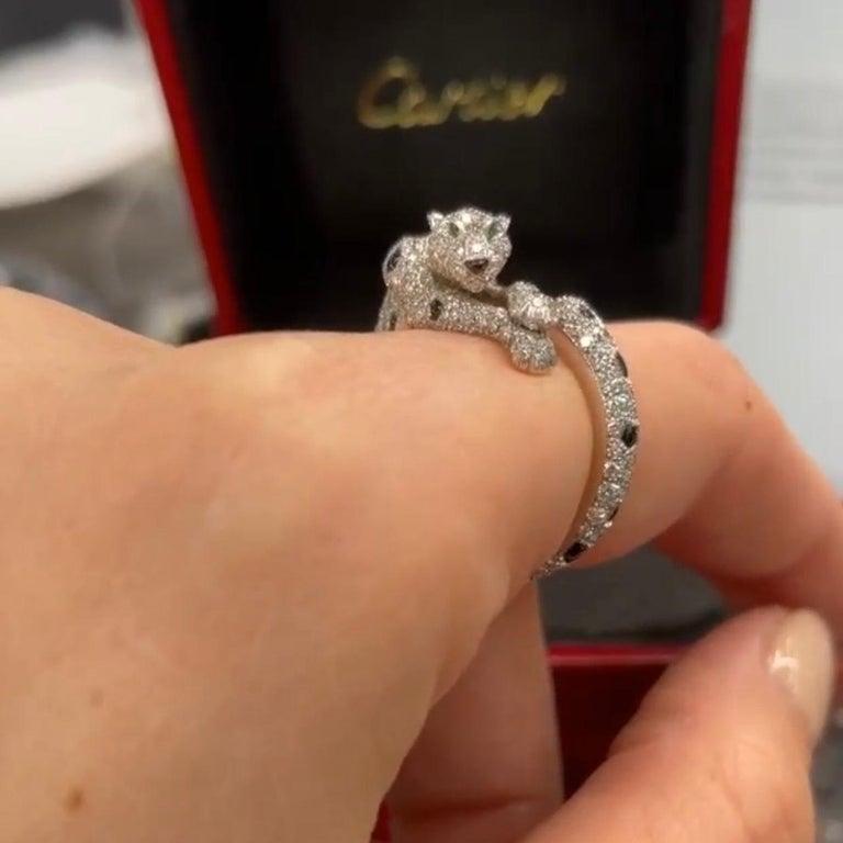 Modern Cartier 18k White Gold Diamond Panthere De Cartier Ring For Sale