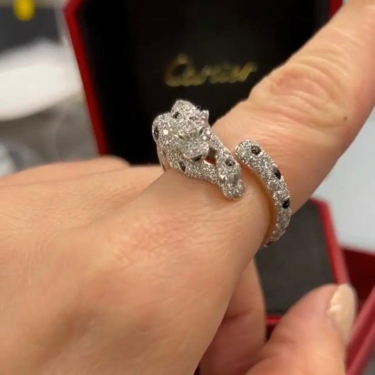 Round Cut Cartier 18k White Gold Diamond Panthere De Cartier Ring For Sale