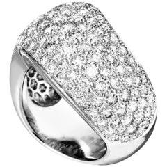 Cartier 18 Karat White Gold Diamond Pave Curved Band Ring