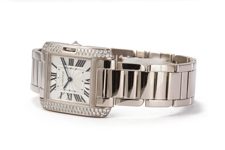Modern Cartier 18 Karat White Gold and Diamonds Tank Anglaise Medium WT100028 For Sale