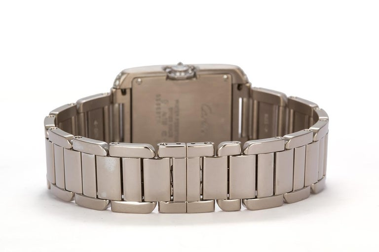 Round Cut Cartier 18 Karat White Gold and Diamonds Tank Anglaise Medium WT100028 For Sale