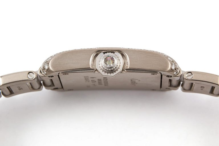 Women's Cartier 18 Karat White Gold and Diamonds Tank Anglaise Medium WT100028 For Sale