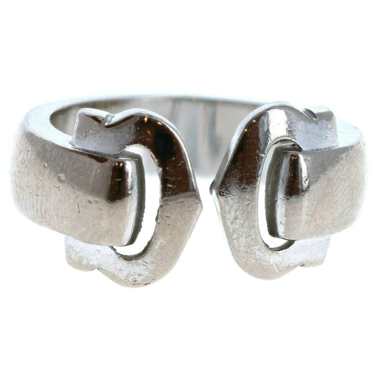 Cartier 18k White Gold Double C Ring 9.6g For Sale