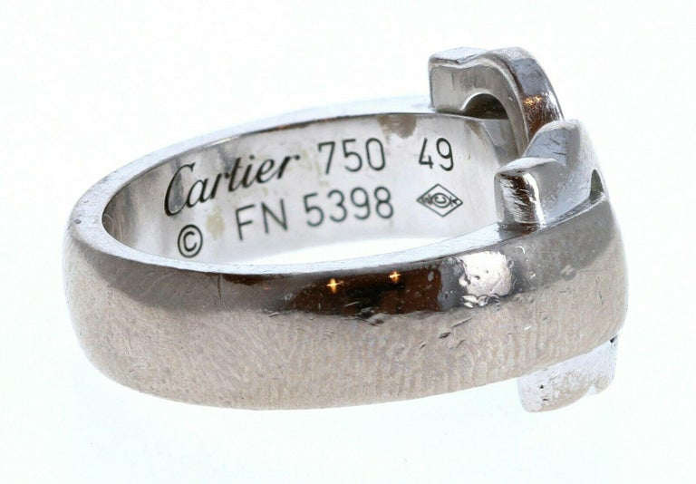 Cartier 18k White Gold Double C Ring 9.6g In Good Condition For Sale In Beverly Hills, CA