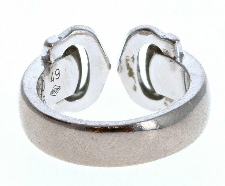 Women's or Men's Cartier 18k White Gold Double C Ring 9.6g For Sale