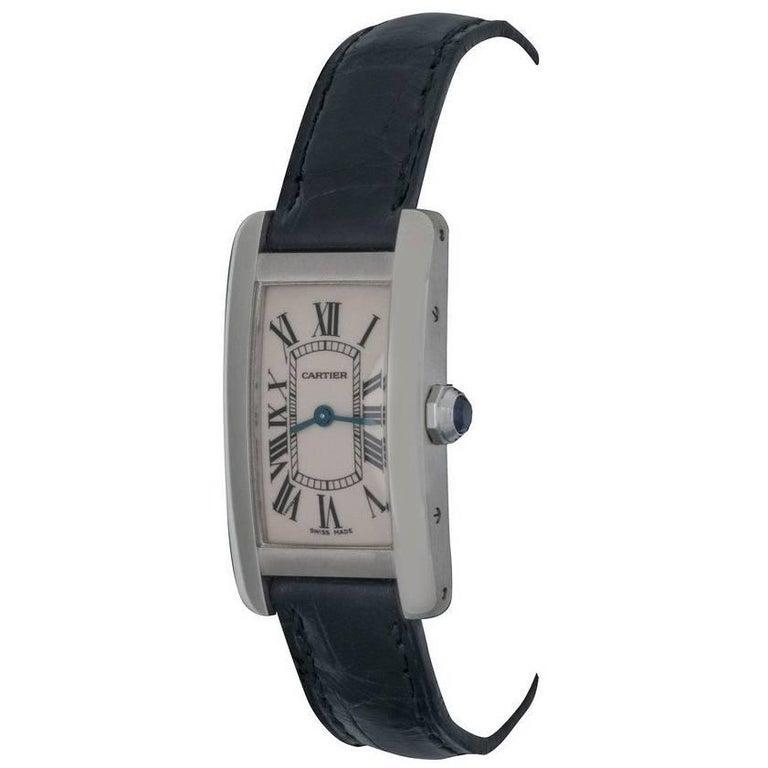 Cartier 18k White Gold Ladies Tank Americaine Quartz Wrist Watch Ref W2601956