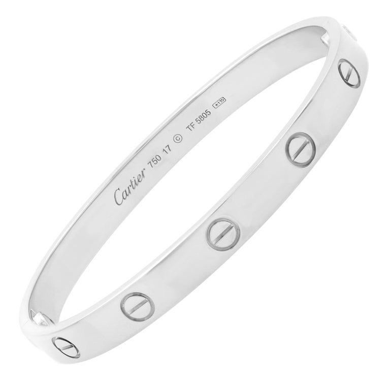 Cartier 18K White Gold Love Bangle Bracelet For Sale