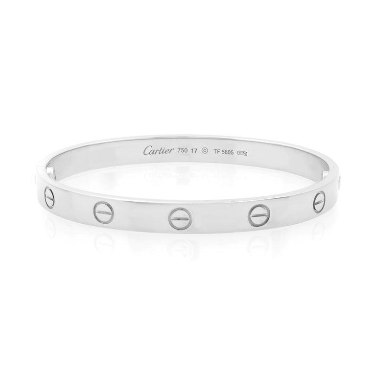 Modern Cartier 18K White Gold Love Bangle Bracelet For Sale