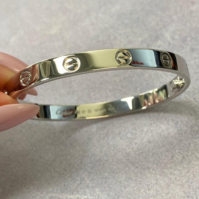 Cartier 18K White Gold Love Bangle Bracelet In Excellent Condition For Sale In New York, NY
