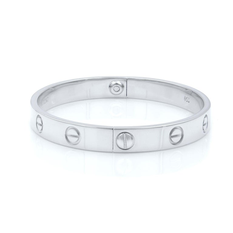 Cartier 18 Karat White Gold Love Bangle Old Screw System In Excellent Condition For Sale In New York, NY