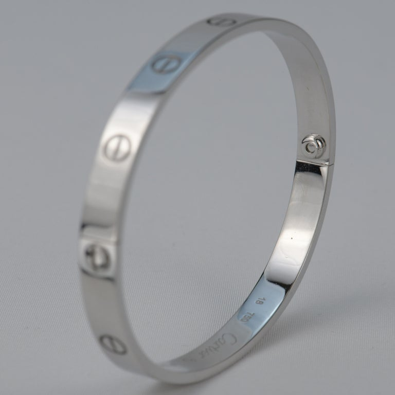 Cartier 18K White Gold Love Bracelet In Excellent Condition In Banbury, GB