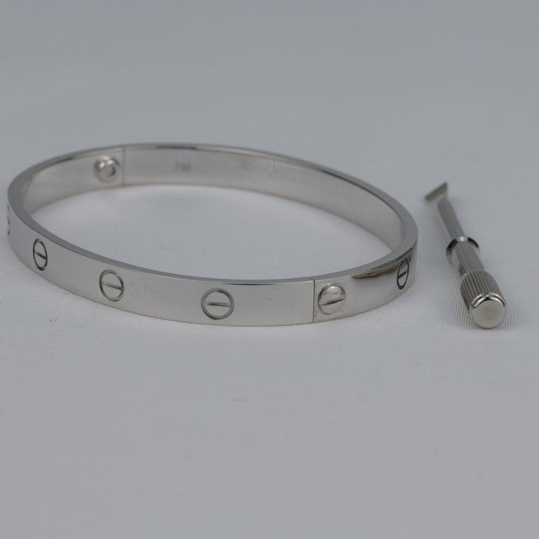 Women's or Men's Cartier 18K White Gold Love Bracelet