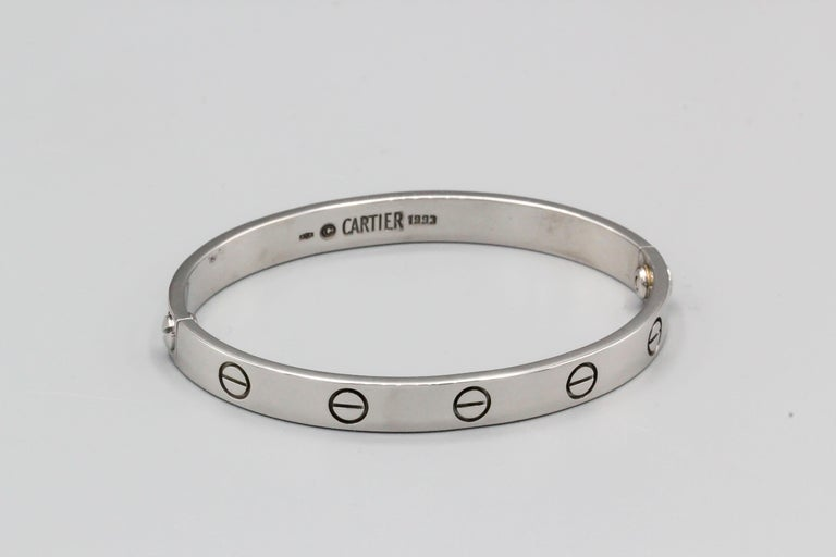 Cartier 18 Karat White Gold Love Bracelet Box Papers In Good Condition For Sale In New York, NY