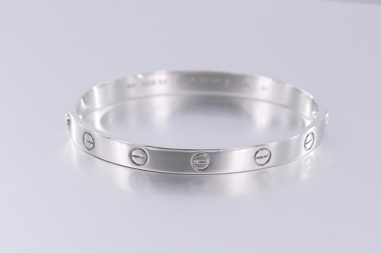 Cartier 18K White Gold Love Bracelet Size 17 In Excellent Condition In Banbury, GB